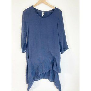 Monoreno Blue Layered Top S Scoop Neck Asymmetrica
